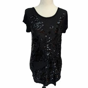 French Connection Black T-shirt W/Sequins